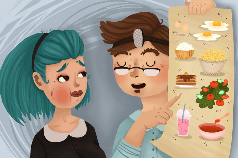Cartoon showing a dentist, a patient and a poster with soft foods to eat after wisdom tooth removal.
