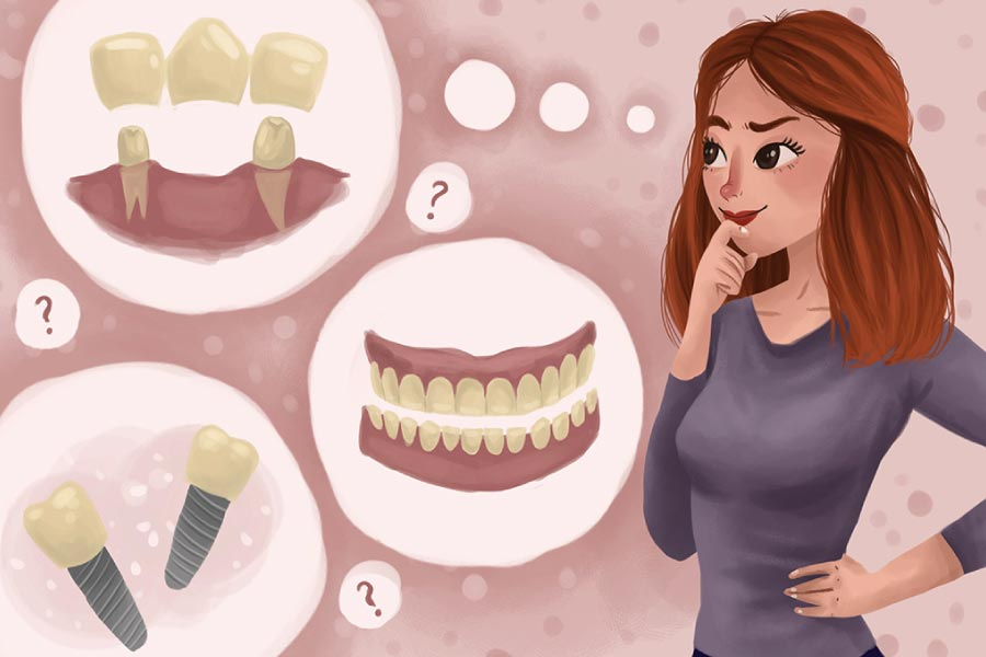 Cartoon of a woman with thought bubbles thinking about dentures, implants and bridges.